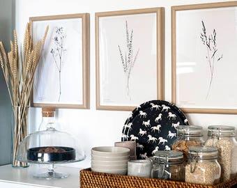 Botanic Wall Art Print, Boho Decor Bedroom Wall Art Print, Modern Flower Prints, Black Flower Illustration Poster Minimalist Flower Wall Art