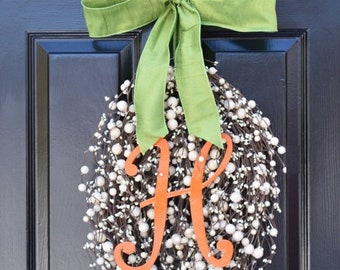 SUMMER WREATH SALE Monogram Easter Egg Wreath, Easter Decoration, Easter Decor Wreath Easter Monogram Wreath- Spring Wreath