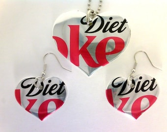 Funky Junq Recycled Aluminum Soda Pop Can Art DIET COKE HEART NECKLACE AND EARRING SET COCA COLA