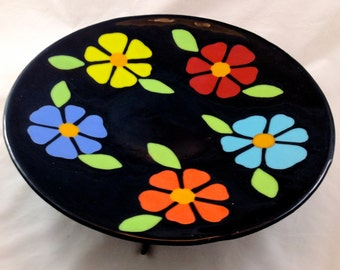 Fused Glass Bright Flowered Platter