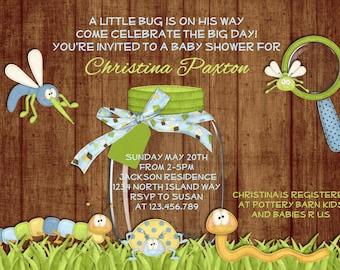 Rustic Bug Boy Baby Shower Invitation - Wood Caterpillar Grasshopper Worm Invite You Print Digital File
