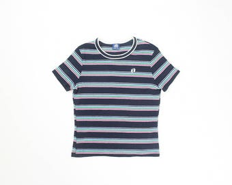 Hang Ten Striped Shirt Baby Tee 1990s Ribbed Stretch Top Stripes 90s Fitted T-Shirt Stretchy Soft Grunge Retro Short Sleeve Navy Small