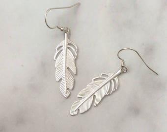 Silver Feather Earrings Medium