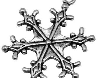 1 charm star snowflake silver metal 22 * 29
