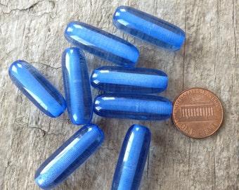 8pcs 28mm x 10mm, Blue Tube Beads, Plastic Beads, Jewelry Making, DIY, Craft Supplies, Jewelry Supplies