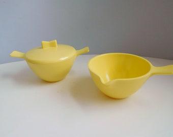 Vintage Melmac sugar and creamer Marcrest Melmac yellow serving set