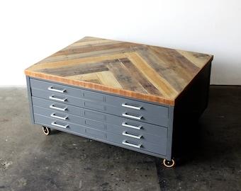 Repurposed Coffee Table - Reclaimed Wood Herringbone - Vintage Flat File Cabinet - Industrial Loft Storage - Metal Drawers - FREE SHIPPING
