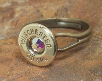 Bullet Ring - Winchester 38 SPL -  AB Crystal
