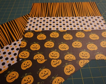 OOAK Zebra Stripes/Dots/Jack-o-Lanterns 12 x 12 Scrapbook Pages - 2 Page Set