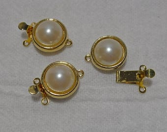 3 - Vintage Gold Tone 2/1 Strand Pearl Cab Box Clasps. Jewelry Making, Asymmetrical.