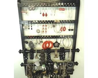 "ON SALE Jewelry Organizer Earring Holder, ""You Choose The Stain"" Double Bangle Bracelet Holder, Necklace Holder, Ebony Wall Mount, Solid Oak"