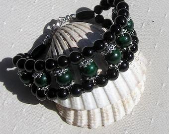 "Black Onyx & Green Jade Crystal Gemstone Cuff Bracelet ""Jade Eclipse"", Green Bracelet, Black Bracelet, Chakra Bracelet, Leo Bracelet"