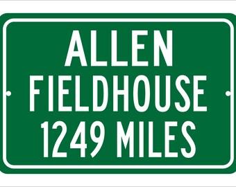 Custom College Highway Distance Sign to Allen Fieldhouse | Home of the Kansas Jayhawks |  Jayhawks Basketball | University of Kansas |