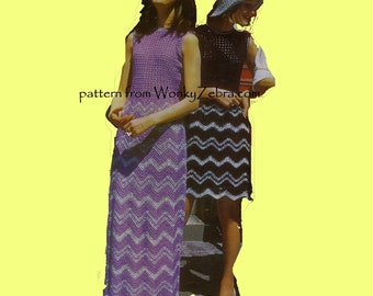 Vintage ZIgZag Crochet Dress Pattern PDF 656 from WonkyZebra