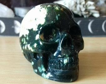 Ocean Jasper Crystal Skull Carving - Ocean Jasper Skull - Hand Carved Jasper Skull - Crystal Skull - Crystal Decor - Crystal Gift - OJE