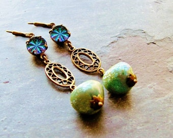 Midnight Starburst Cabochon and Seafoam Green Beaded Earrings