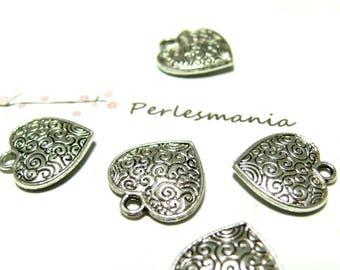 4 charms (2B 9668) heart ANTIQUE silver color metal ARABESQUE pendant charm