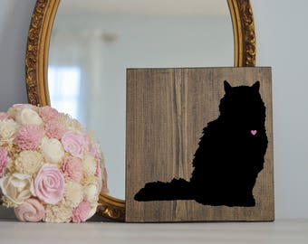 Hand Painted Cat Silhouette on Stained Wood, Cat Decor, Painting, Gift for Cat People, New Kitten Gift, Housewarming Gift, Cat Lady Gifts