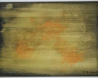 "Abstract Painting, Acrylic on Aquabord, Original, 5 x 7"", Colors - Black & Orange, Title - Moonrise II, by M. Ivanoff 2016"