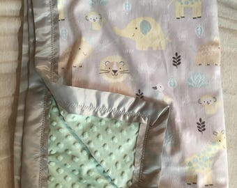 Grey and mint animal baby blanket