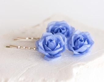 71_Blue flower hair pins, Sky blue flowers, Blue wedding accessories, Flowers in hair, Silk flowers hair pins, Rustic hair accessories.