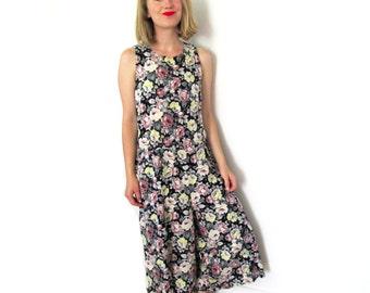 vintage romper 90s grunge clothing jumpsuit 1990s floral romantic sleeveless summer womens size m l medium large