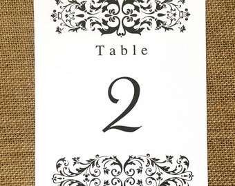 vintage style table number in 5 x 7 inches 1-20