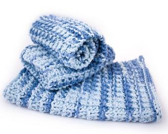 Hand Knit Dishcloth Set - Hand Knit Washcloth - Faded Denim