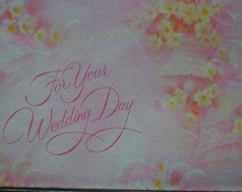 Vintage Wedding Gift Wrap 1970s Wrapping Paper-2 Sheets NIP- Yellow & Pink Rose Wedding