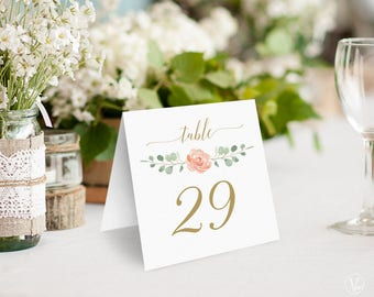 Peach Blush Floral Wedding Table Numbers 1–40, Printable Wedding Table Numbers, INSTANT DOWNLOAD, 5x5 Foldover, Tented, Peach Gold