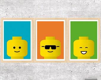 Lego, Lego Print, Lego Poster, Toys Print, Kids Wall Art, Boys Room Decor, Blue, Orange, Green, Lego Wall Art, Lego Decor, Instant Download