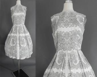 50s Cotton Dress ,  1950s Black White Full Skirt Paisley , 60s  L'Aiglon Dress , L