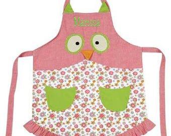 Personalized Owl Design Child's Apron