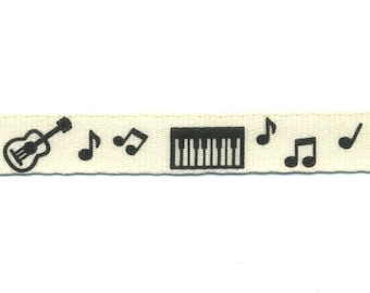 Fancy Ribbon ecru musical instruments to meter