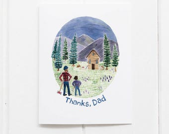 Dad Card | Fathers Day Card | Thanks Dad Card  | Fathers Day | Greeting Card | Lumberjack Card | Gifts for Him | Fathers Day Gifts | Dads