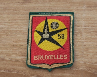 Vintage Brussels Expo 58  Woven Travel Patch