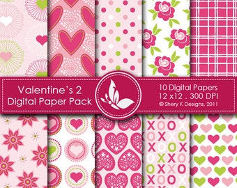 Valentine's Paper Pack 2 - 10 Digital papers - 12 x12 - 300 DPI ////// 2