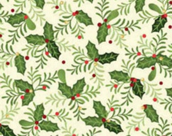 SALE - CHRISTMAS  - Benartex Fabric - Home for the Holidays - Christmas Holly - Cotton fabric by the yard(s)