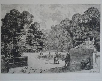 Fine Art Etching - Jardin des Tuileries by French artist Alfred Taiee - 1875 on hand-laid paper uncut, original and rare.