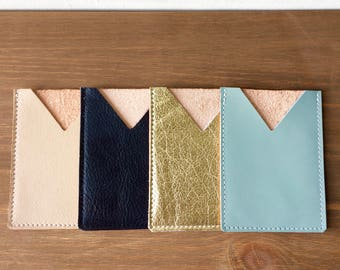 LEATHER Card Case long. Credit Card Case. Metallic Leather Wallet. Card Holder. Leather Business Card Holder