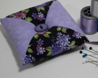 Quilted Square - Tirangular Patchwork Pincushion - Lilac Flower / Black / Lavender - Poly-fil / Crushed Walnut Shell Filling