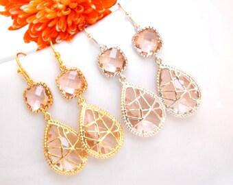 Wedding Jewelry, Peach Earrings, Champagne, Silver, Blush Earrings,Gold, Bridesmaid Jewelry, Bridesmaids Earrings, Dangle, Bridesmaids