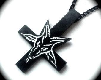 Inverted Cross Baphomet Pendant Necklace