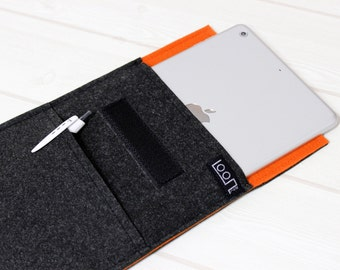 Felt ebook case, grey kindle sleeve, iPad mini sleeve, iPad mini 4 sleeve, 7 inch tablet case, 8 inch tablet sleeve, orange E-reader case
