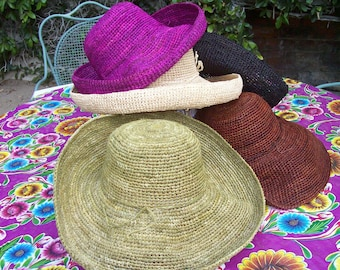 Wide Brim Crocheted Straw Packable Sun Hat