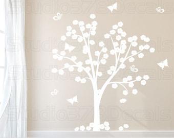 Cherry Blossom Tree Vinyl Wall Decal   Flower and Butterfly Tree   Vinyl Wall Tree Decal   Baby Nursery Decals   Childrens Nursery Wall Art