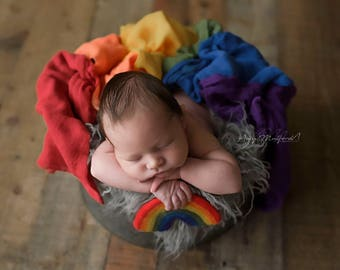 RTS Pack of 6 ROYGBIV cheesecloth - Set of 6 wraps and tieback- Rainbow Baby - Newborn Photography swaddles - premium wraps for photos