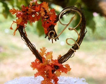 Personalized Letter Cake Topper For Fall Wedding With Optional Leaves For Wedding