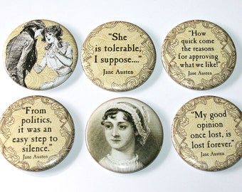 Jane Austen Magnets - Set of 6 Large Fridge Magnets