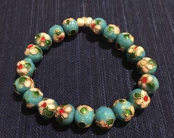 Turquoise blue cloisonné bracelet